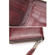 Women Vintage Genuine Leather Small Short Wallet Zipper Purse