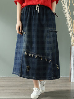 Vintage Plaid Elastic Waist Drawstring Long Denim Skirt