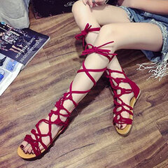 Women Big Size Gladiator Summer Solid Color Zipper Cross Lace Up Flat Sandals