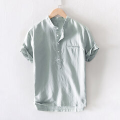 Mens Casual Cotton Stand Collar T-shirts Solid Color Short Sleeve Comfy Loose Henley Shirts