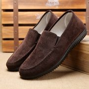 Men Pure Color Old Peking Style Fabric Slip On Soft Casual Shoes