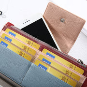 Women Oil Leather Long Wallet Bright PU Leather Purse 25 Card slot Wallet