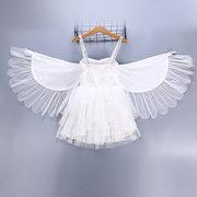 Фламинго Вышивка Девушки Крылья Ангела Производительность Принцесса Платье Для 2Y-11Y