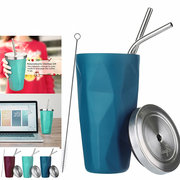 Reusable Coffee Cups Stainless Steel Travel Mugs with Straw 16oz Leak Proof Office Coffee Mugs