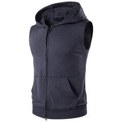 La mode des hommes à capuchon sans manches Zipper Vest Big Pocket Sports Débardeurs