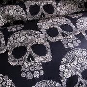 أسود أبيض جمجمة مطبوعة لحاف الغطاء المخدة هالوين نمط الفراش مجموعات