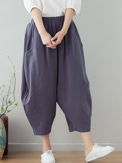 Casual Elastic Waist AnkleLength Pants with Pockets