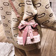 Plush Bow Handbag Bucket Bag Shoulder Bag For Women