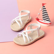 Girls Solid Color Knitted Elastic Band Holiday Beach Sandals