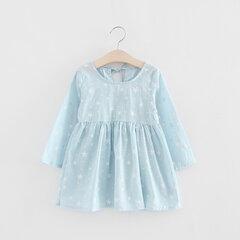 Le ragazze stampate in cotone traspirante vestono abiti a vita alta con maniche lunghe per bambini Toddler Girl 2-9 anni