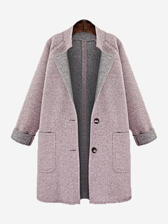 Casual Solid Color Pocket Woolen Plus Size Coat for Women
