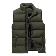 Stand Colllar Solid Color Down Padded Quilted Coat Vest for Men