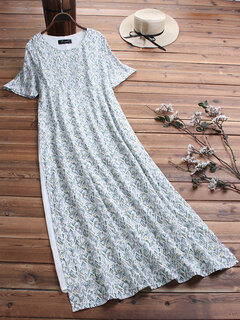 Casual Print Patchwork Short Sleeve Plus Size Maxi Dress with Pockets