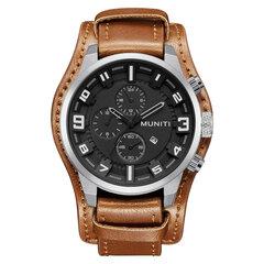 MUNITI Sport Military Watch Quartz große Zifferblatt Kalender Leder Uhren für Männer Armee männliche Uhr
