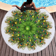 150cm Peacock Feather Printed Large Round Beach Towel Microfiber Yoga Mat with Tassels