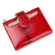 Women Bright Genuine Leather Card Holder Wallet Purse