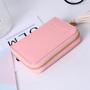 Women Tassel Small Wallet Candy Color Card Holder Purse