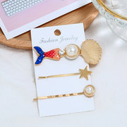 Cute Mermaid Gold Hair Clip Pearl Hair Accessories Alloy Star Hair Clip For Women