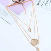 African Multi Layer Metal Necklace Alloy Shell Necklace For Women
