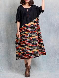 O-NEWE Robe Vintage à Imprimé Effet Patchwork Manches Longues pour Femme