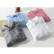 Mens Classic Brief Fashion Breathable Cotton Linen Long Sleeve Single-breasted Loose Casual Shirt