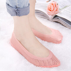 Women Summer Breathable Mesh Invisible Silicone Boat Socks Antiskid Shallow Low Cut Socks