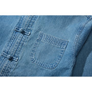 Mens Chinese Style Tang Suit Buttons Middle-aged Father Denim Shirt Long Sleeve Casual Jacket