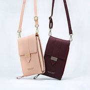 Women Faux Leather Multi-pockets Shoulder Bag 5.5 Inches Crossbody Phone Bag