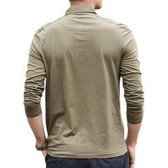 رجل الخريف موجز الصلبة اللون بدوره إلى أسفل الياقة كم طويل قميص بولو عادية