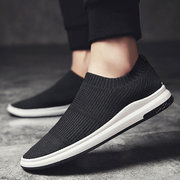 Men Knitted Fabric Breathable Slip On Casual Walking Sneakers