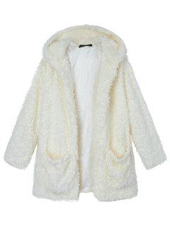Casual Noble Fall Winter Warm Hooded Furry Coat Outwear