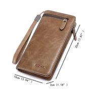 Multi-functional Vintage Business Genuine Leather Multi-slots Long Wallet Clutch Bag