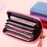 Portefeuille Titulaire de la Carte Portefeuille en Cuir Véritable à Poche Couleur Pure pour Femmes
