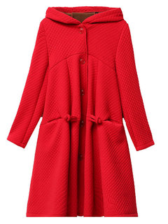 Casual Solid Color Hooded Plus Velvet Long Coat