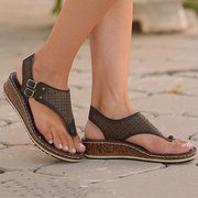 Plus Size Women Summer Hollow Out Buckle Clip Toe Sandals