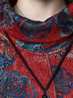 Cuello alto estampado manga larga vestido suelto de la vendimia