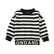 Letter Print Boys Striped Long Sleeve Sweatshirt For 3Y-13Y