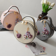 Women Floral Casual Round Crossbody Bag Mini Handbag