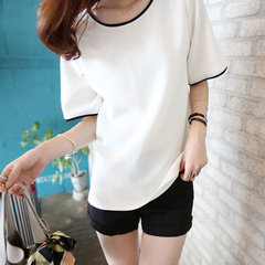 Solid color loose round neck short-sleeved T-shirt