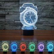 Wecker Lampe 3D Visual LED Nachtlicht USB Lade Schlafzimmer Home Decor