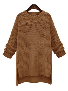 Casual Solid Color Irregular Long Sleeve O-neck Women Sweaters