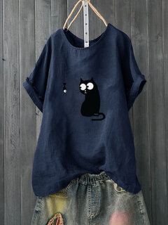 Cartoon Print Niedliches Kurzarm Casual T-Shirt
