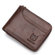 BULLCAPTAIN Genuine Leather Zipper Short Wallets Vintage 7 Card Holder Coin Purse