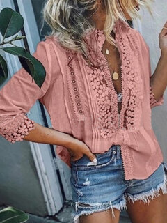 Solid Color Lace Patchwork Hollow Blouse For Women
