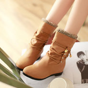 Large Size Button Lace Up Boots