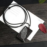 Ethnic Jewelry Rectangle Wood Charm Neckalce Silver Leaf Embossment Pendant Necklaces for Women