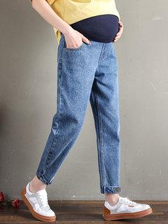 Cintura Alta Maternidade Confortável Jeans Denim Calças