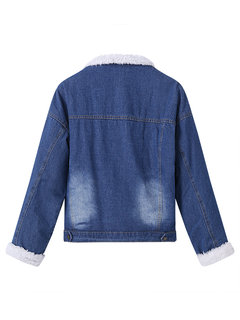 Casual Denim Pure Color Thicken Long Sleeve Lapel Women Jackets