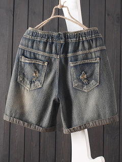 Vintage Cartoon Elastic Waist Pockets Loose Lace-up Hot Denim Shorts