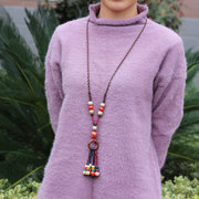 Ethnic Ceramic Beads Tassels Drop Necklace Vintage Sweater Long Necklace Gift for Women